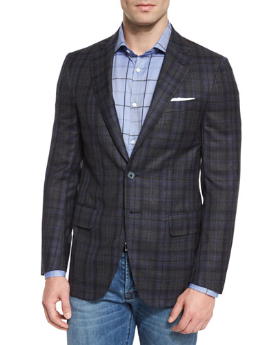 Super 140s Plaid Two-Button Sport Coat, Gray/Navy