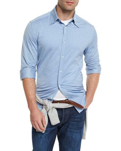 Jersey Long-Sleeve Sport Shirt, Pale Blue