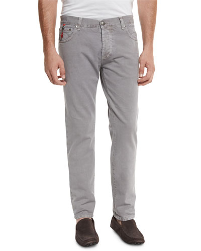 Five-Pocket Straight-Leg Denim Jeans, Gray