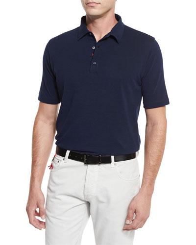 Washed Piqué Polo Shirt, Navy