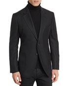 Hopsack Textured Cardigan Jacket, Black