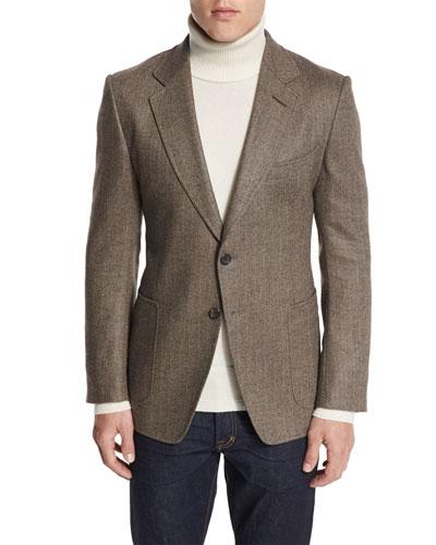 O'Connor Base Herringbone Sport Jacket, Brown