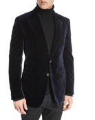 Shelton Base Velvet Sport Jacket, Navy