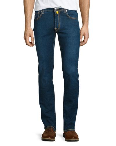 Medium Wash Yellow-Stitch Straight-Leg Jeans, Blue