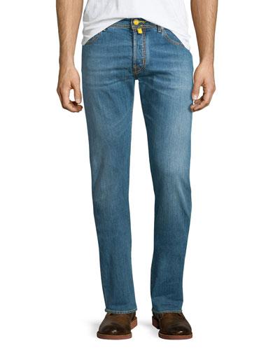 Yellow-Stitch Soft Washed Denim Jeans, Light Blue