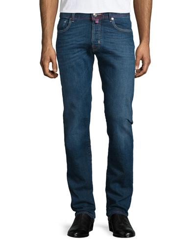 Medium Wash Red-Stitch Denim Jeans, Blue