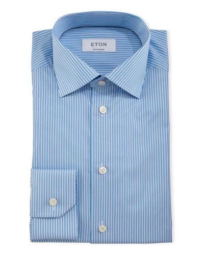 Contemporary-Fit Striped Dress Shirt, Turquoise