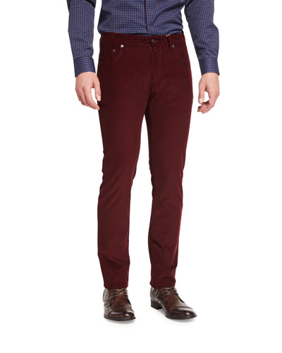 Five-Pocket Corduroy Pants, Burgundy