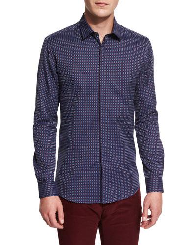 Jacquard Long-Sleeve Sport Shirt, Navy