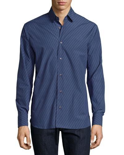 Gancio-Print Woven Sport Shirt, Navy