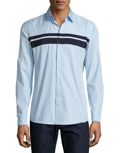 Striped Woven Sport Shirt, Light Blue