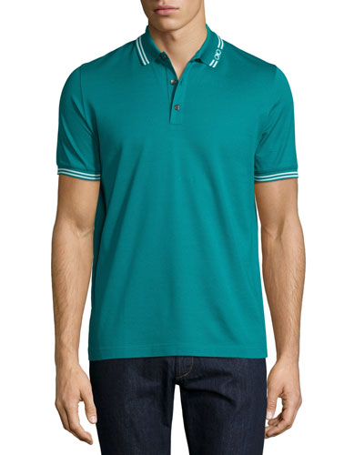 Tape-Tipped Short-Sleeve Polo Shirt, Teal