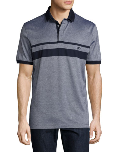 Gancini-Stripe Jacquard Polo Shirt, Navy