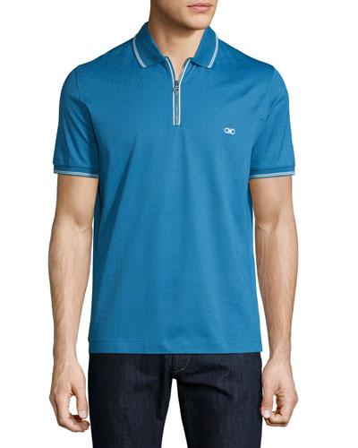 Tape-Tipped Short-Sleeve Zip Polo Shirt, Bright Cobalt