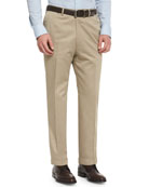 Phi Flat-Front Cotton-Cashmere Trousers, Tan
