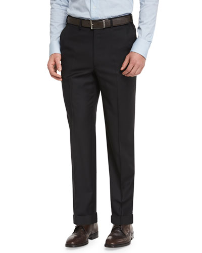 Phi Flat-Front Wool Trousers, Black