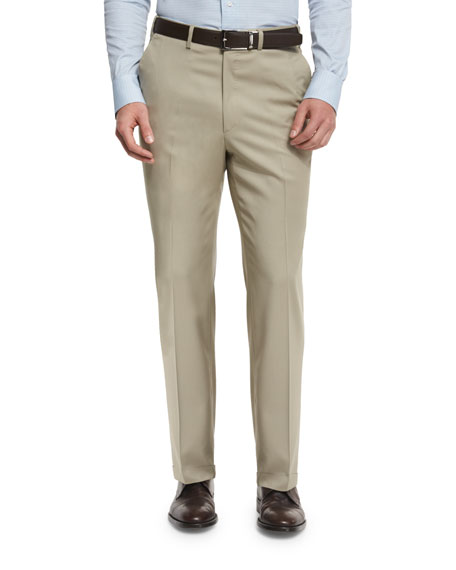 Brioni Phi Flat-Front Solid Wool Trousers, Tan