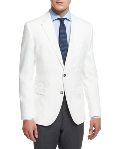 Waffle-Stitch Cotton Two-Button Sport Coat, White