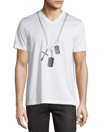 Dog-Tag Graphic V-Neck T-Shirt