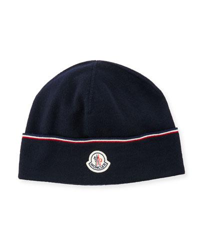 Wool Striped Logo Beanie Hat, Navy