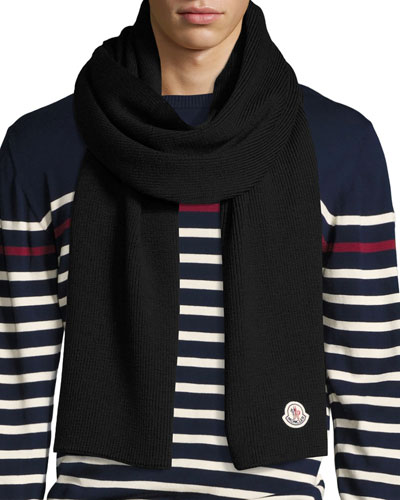 Men's Virgin Wool Scarf, Navy