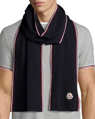 Wool Tricolor-Trim Logo Scarf, Navy