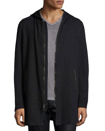 Long-Line Knit Front-Zip Hoodie, Black