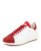 Mr. Moncler Bicolor Low-Top Sneaker, White/Red