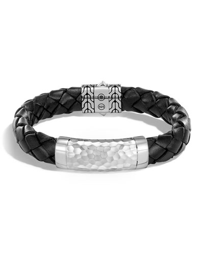 Men's Large 12mm Classic Chain Woven Leather Bracelet, Black