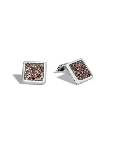Men's Lava Smoky Quartz Square Cuff Links