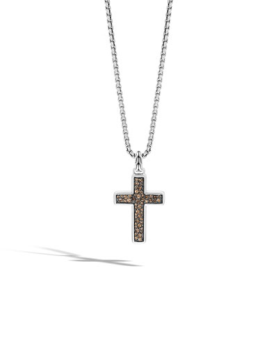 Men's Lava Smoky Quartz Cross Pendant Necklace