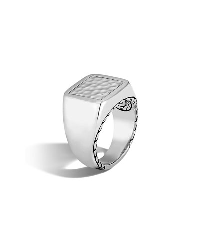 Men's Classic Chain Sterling Silver Signet Ring, Size 10