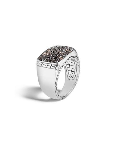Men's Lava Smoky Quartz Signet Ring, Size 10