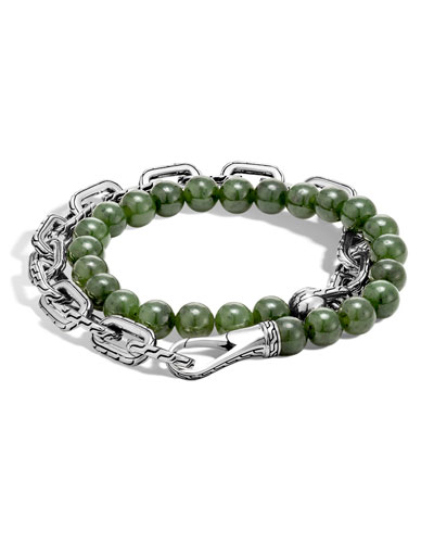 Men's Batu Double-Wrap Bead Bracelet, Green