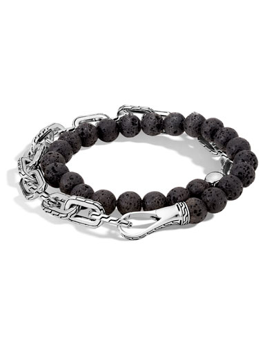 Men's Batu Double-Wrap Bead Bracelet, Black
