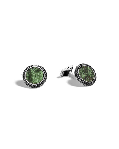 Men's Batu Green Jade Cuff Links with Black Sapphires