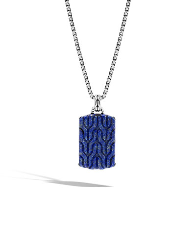 Men's Batu Lapis Lazuli Dog Tag Necklace