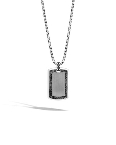Men's Large Lava Black Sapphire Dog Tag Necklace