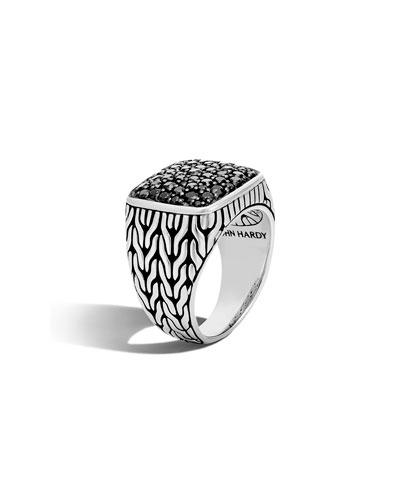 Men's Lava Black Sapphire Ring, Size 10