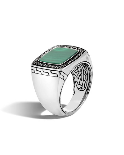 Men's 13mm Batu Green Jade Ring, Size 10
