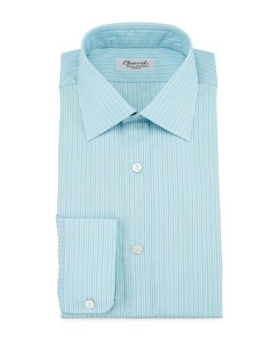 Striped Barrel-Cuff Dress Shirt, Green/Blue