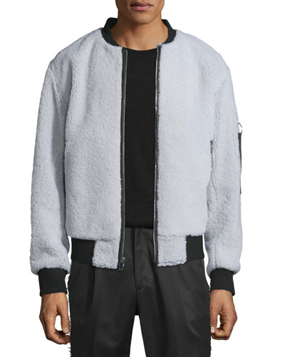 Shearling Fur Bomber Jacket w/Contrast Trim