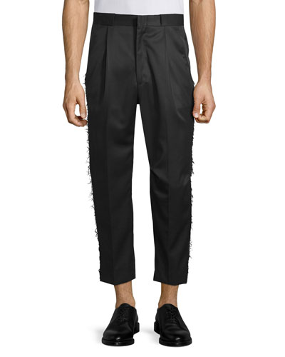 Frayed-Edge Pleated Pant, Black