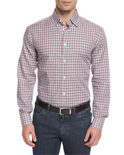 Check Long-Sleeve Sport Shirt, Burgundy/White