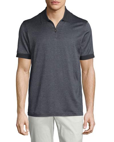 Micro-Grid Jacquard Quarter-Zip Polo Shirt, Gray/Navy
