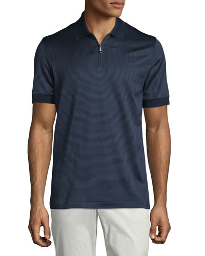 Micro-Grid Jacquard Quarter-Zip Polo Shirt, Navy/Aqua
