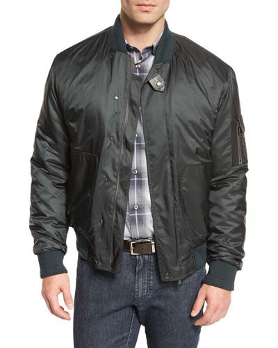 Nylon Bomber Jacket, Green