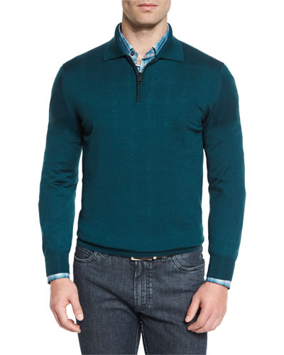 Cashmere-Silk Quarter-Zip Polo Sweater, Blue