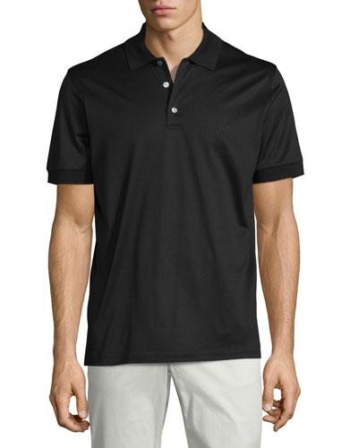 Jersey Knit Polo Shirt, Black