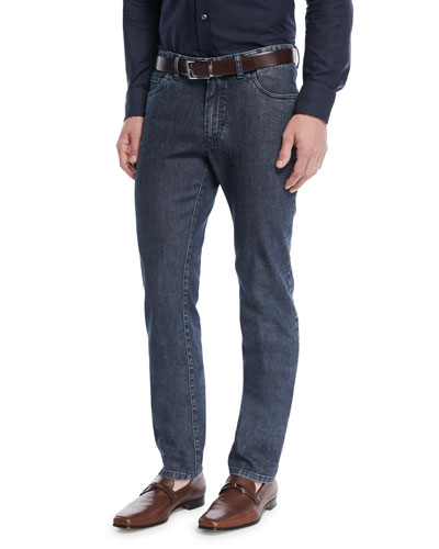 Dark-Wash Straight-Leg Denim Jeans, Blue